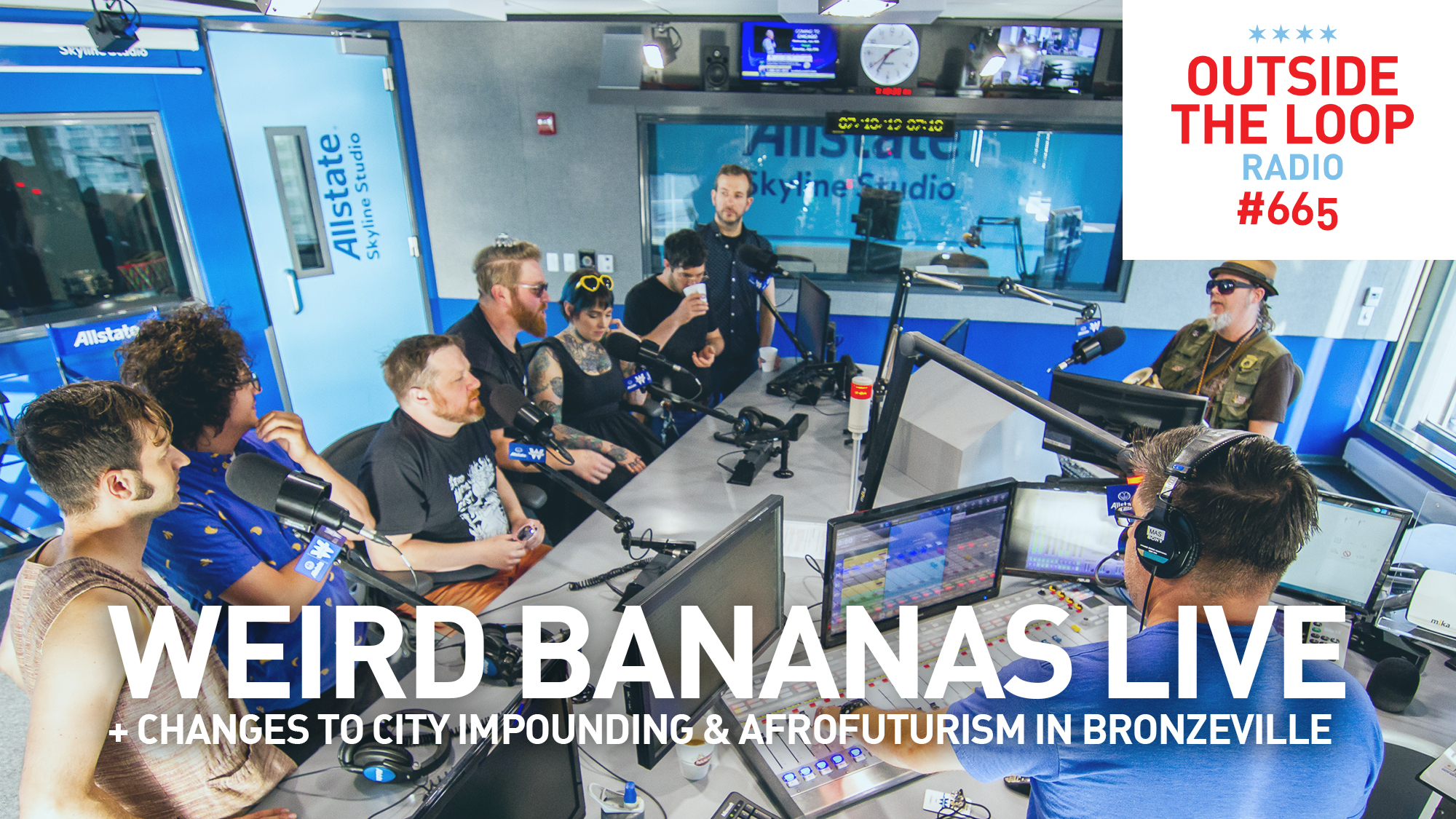 Mike Stephen welcomes the members of the local band Weird Bananas into the studio.
