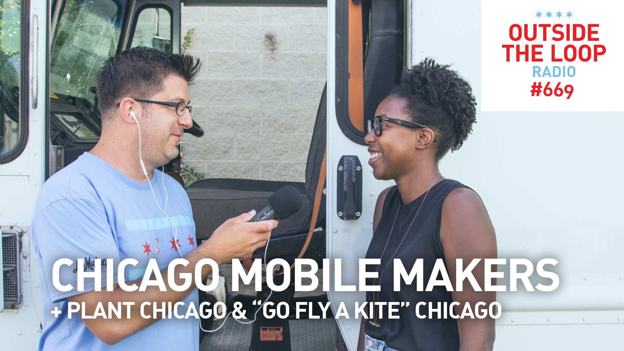 Mike Stephen interviews Chicago Mobile Makers founder Maya Bird-Murphy outside of the future Mobile Maker Van.