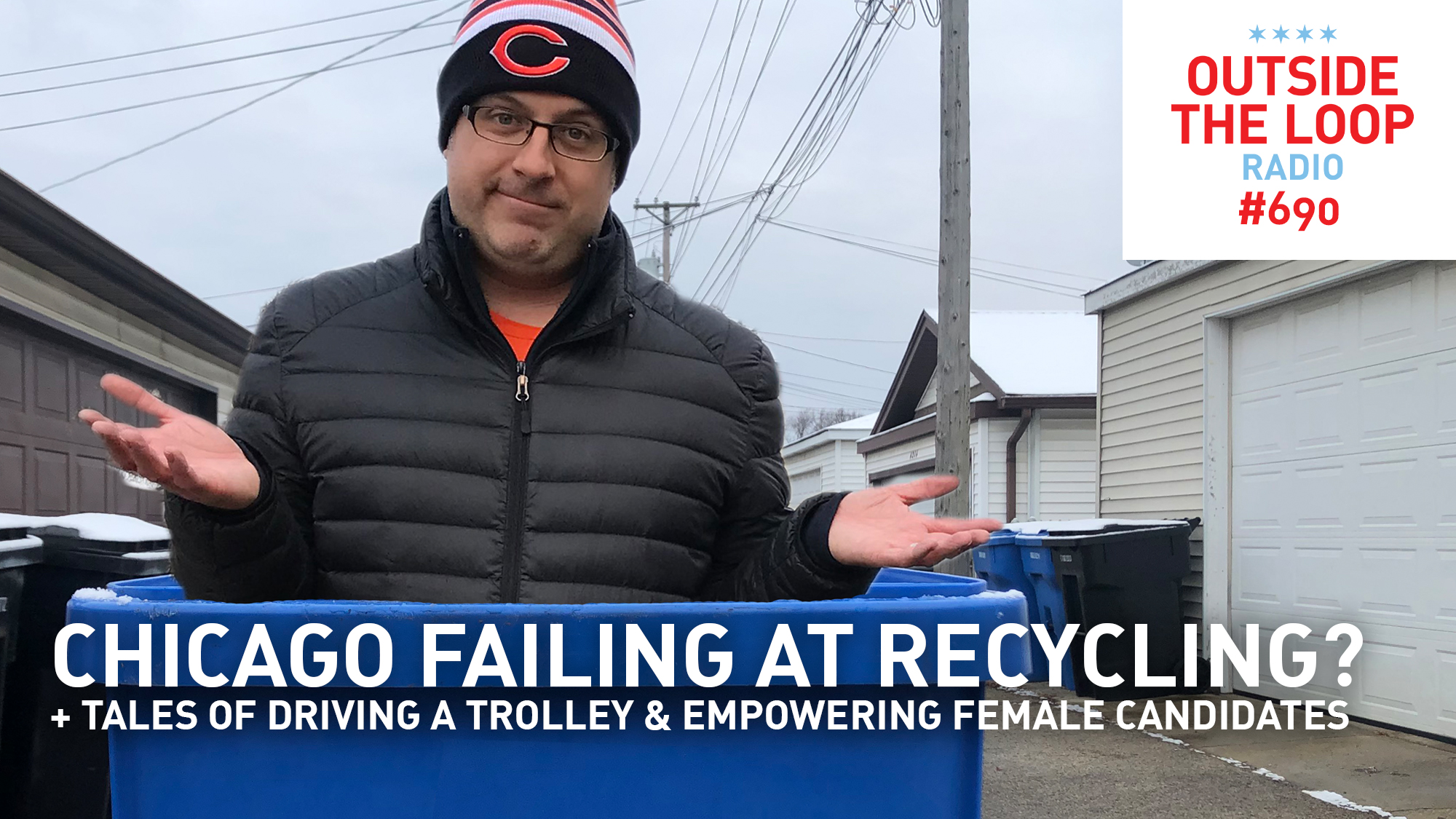 Mike Stephen ponders recycling in Chicago while standing in a blue recycling bin. That's dedication.