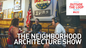 Mike Stephen welcomes Elizabeth Blasius and AJ LaTrace to a neighborhood architecture discussion at The Levee bar in the Hermosa neighborhood.