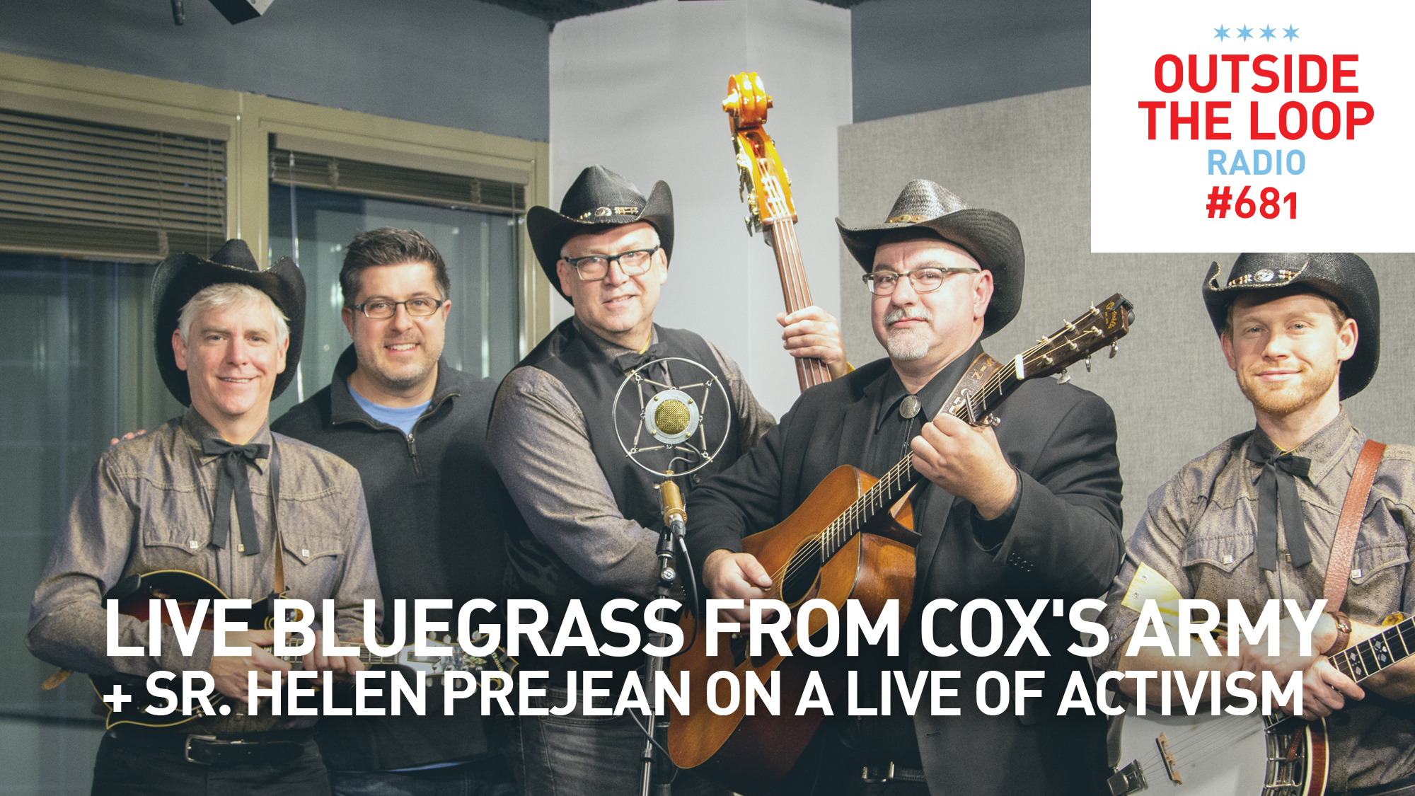 Mike Stephen with Cox's Army in the WGN Radio Performance Studio.