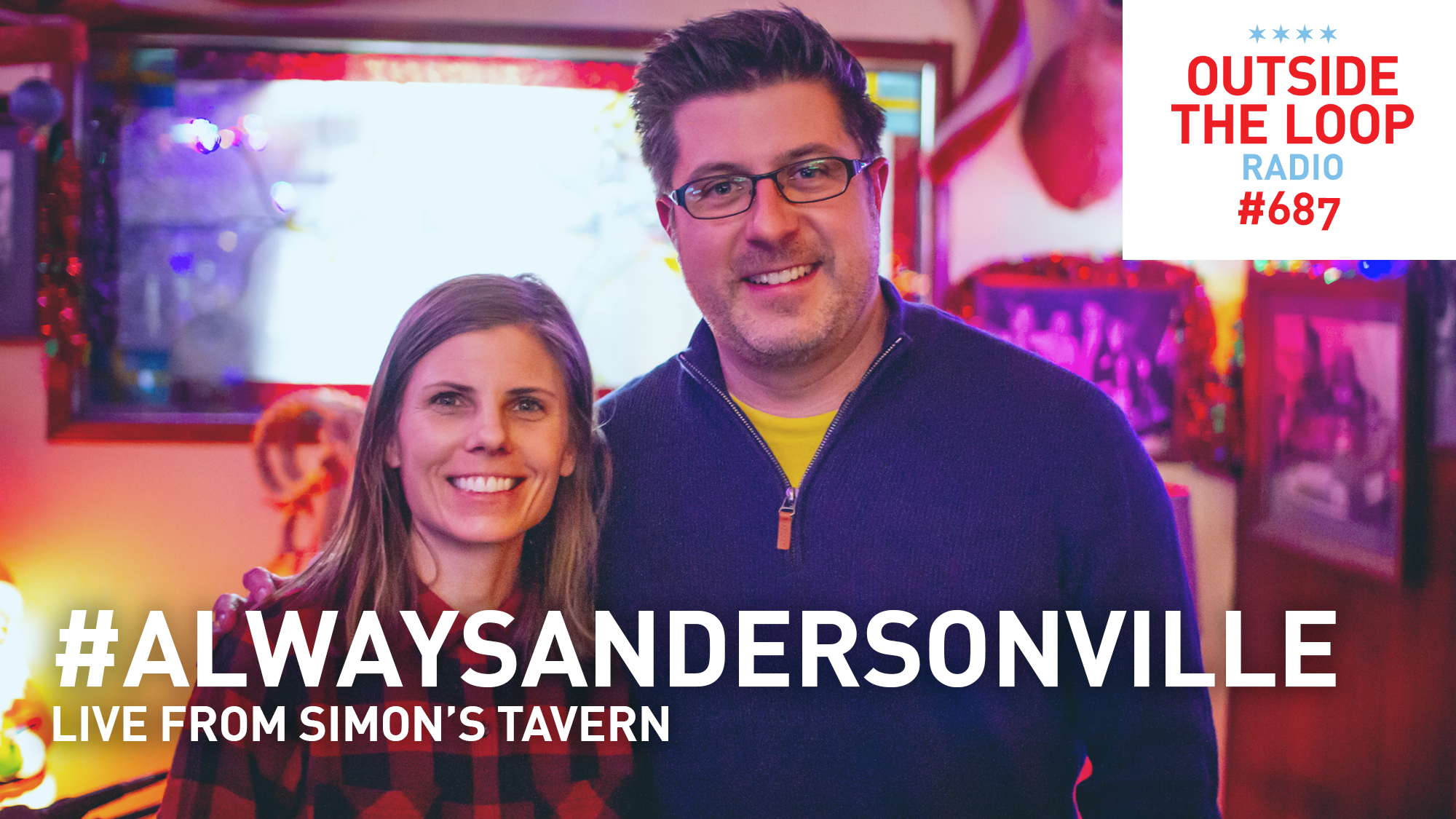Laura Austin of the Andersonville Chamber of Commerce and Mike Stephen hanging out at Simon's Tavern on Clark St. in Andersonville.