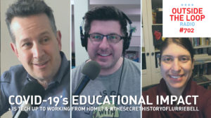 Mike Stephen (center) from his home studio talks to teachers Dave Narter and Paula Di Dominico about the Teachers Teachwell podcast.